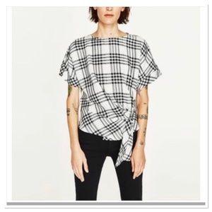 Zara Basic Tartan Top with Front Top Size S